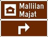 Exempel av adressvägvisare till serviceanläggning och förhandsmärken
