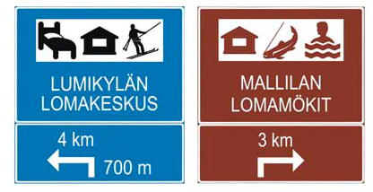 Exempel av informationstavlor för serviceanläggningar