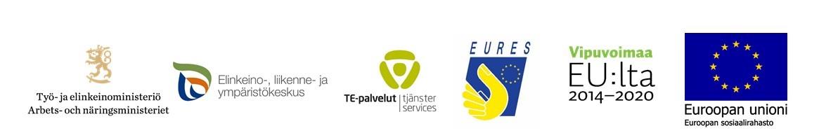 Logot: TEM, ELY-keskus, TE-palvelut, Vipuvoimaa EU:lta ja EU-lippu